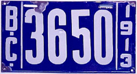 1913 License plate