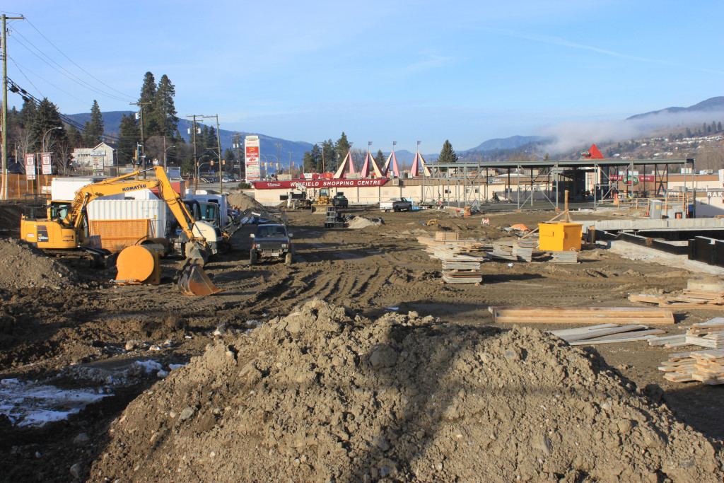 Construction on Main Street in Lake Country, February 2015