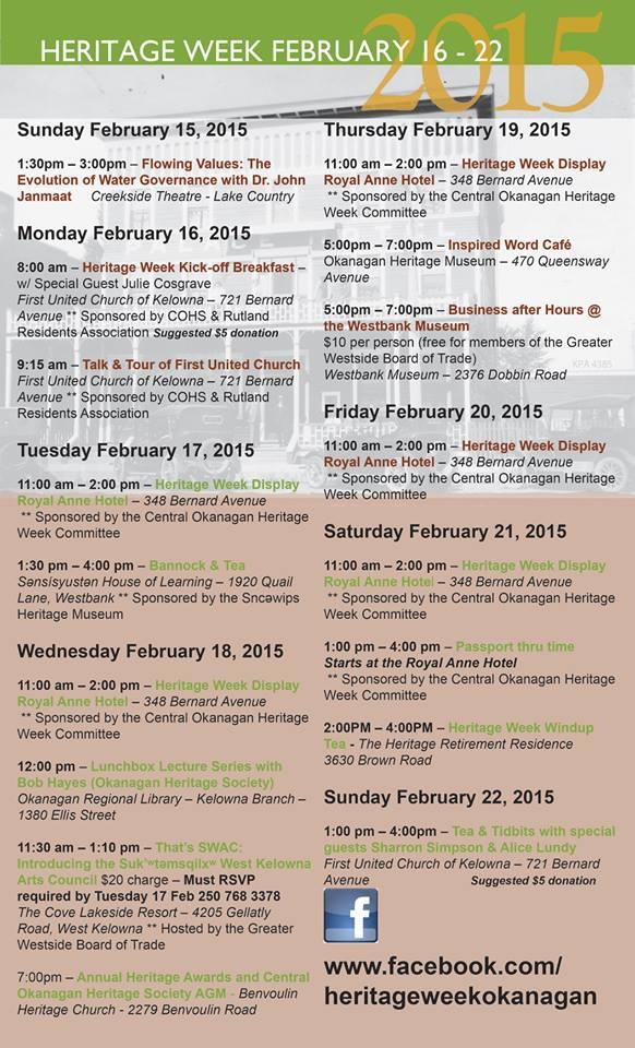 2015 Heritage Week programming