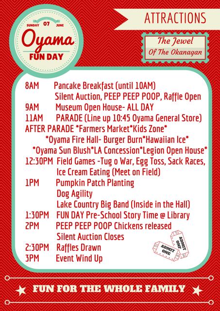 Oyama Fun Day 2015 Schedule