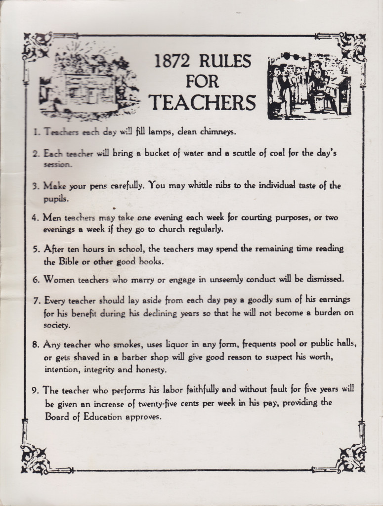 Rules for Teachers in 1872