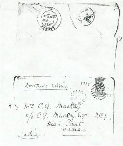 Dorothea Allison to Milborough Mackay, 9 March [1914], Envelope
