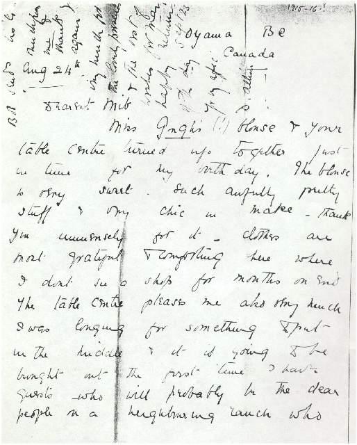 Dorothea Allison to Milborough Mackay 24 August [1915]
