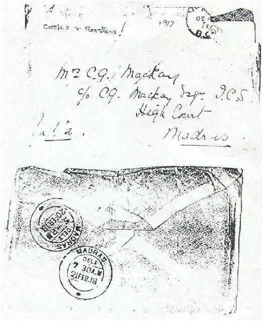 Envelope of letter from Dorothea Allison to Milborough Mackay, 2 December [1917]