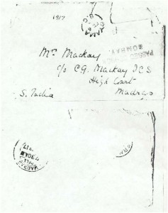 Envelope from Dorothea Allison to Milborough Mackay 4 February [1917]