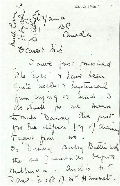 Dorothea Allison to Milborough Mackay, Undated [Fall, 1920],
