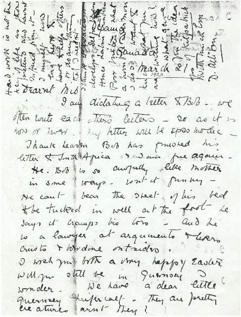 Dorothea Allison to Milborough Mackay, 21 March [1920