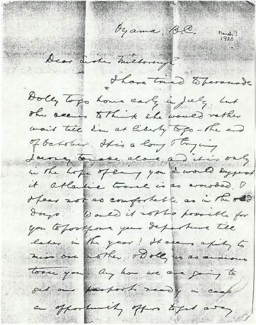 Robert Allison to Milborough Mackay, Undated [March 1920]