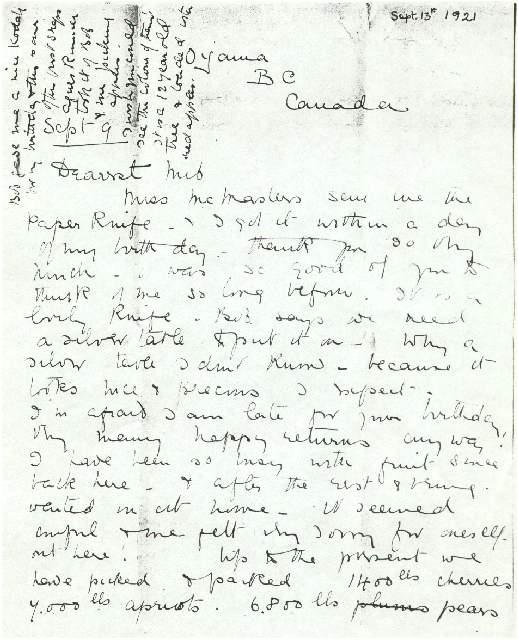 Dorothea Allison to Milborough, Mackay 9 September [1921]