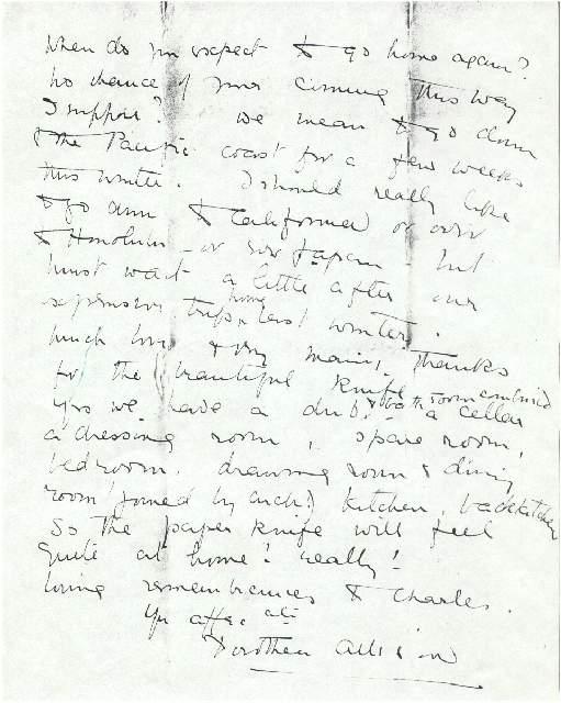 Dorothea Allison to Milborough, Mackay 9 September [1921],
