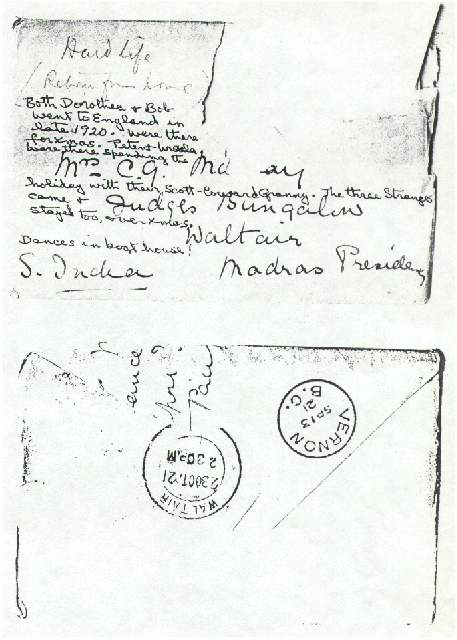 Dorothea Allison to Milborough, Mackay 9 September [1921], Envelope