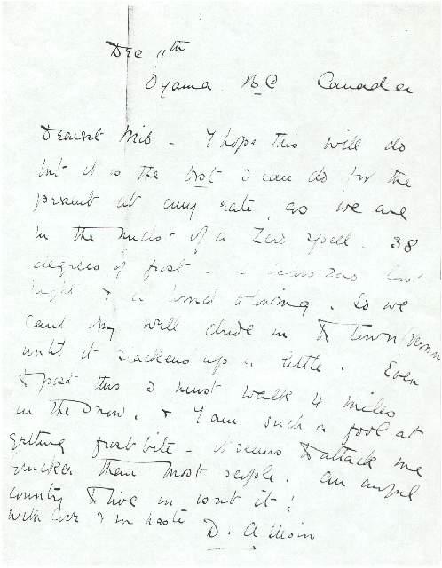 Dorothea Allison to Milborough Mackay 11 December 1922