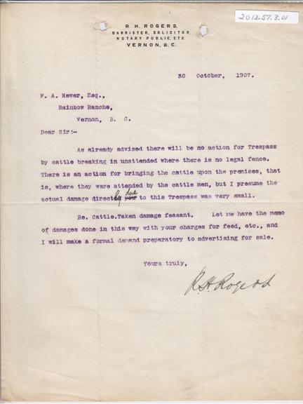 Correspondence Rogers to Hewer