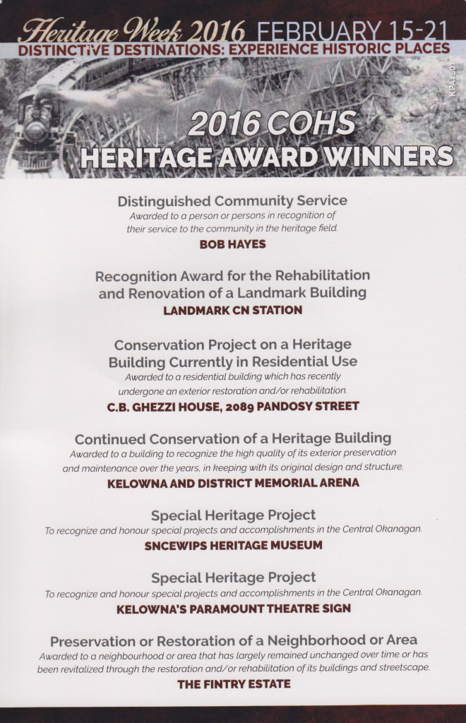 Heritage Awards 2016