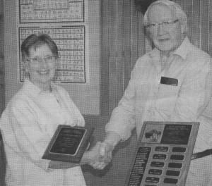 Mayor James Baker presents Sax Koyama Award to Elaine Gibbons