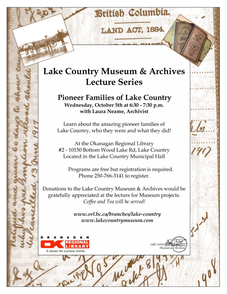 Pioneer Families of Lake Country