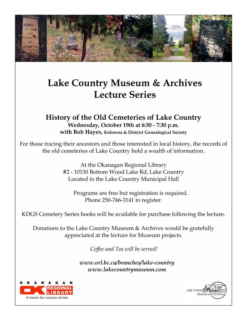 History of the old cemeteries of Lake Country
