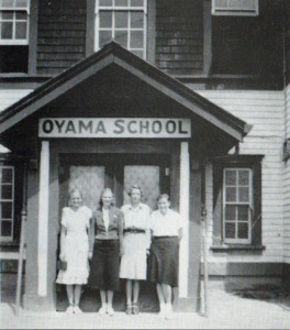 Oyama high school students left to right: Sadie Draper, Beth Peters, Beryl Trewhitt, Margaret Getty.